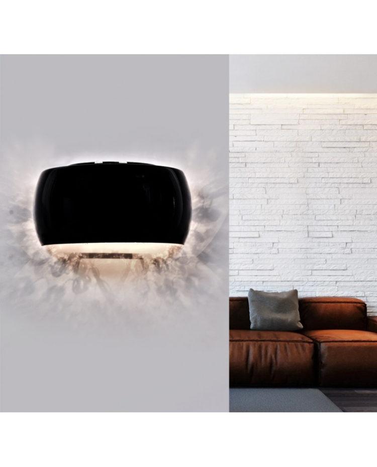 lampada a muro nera a forma di semicerchio vetro nero