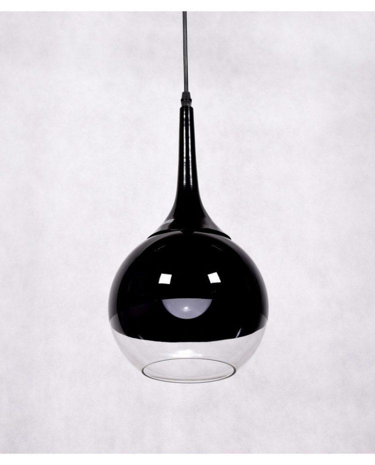 lampada a sospensione vetro trasparente e nero frudo