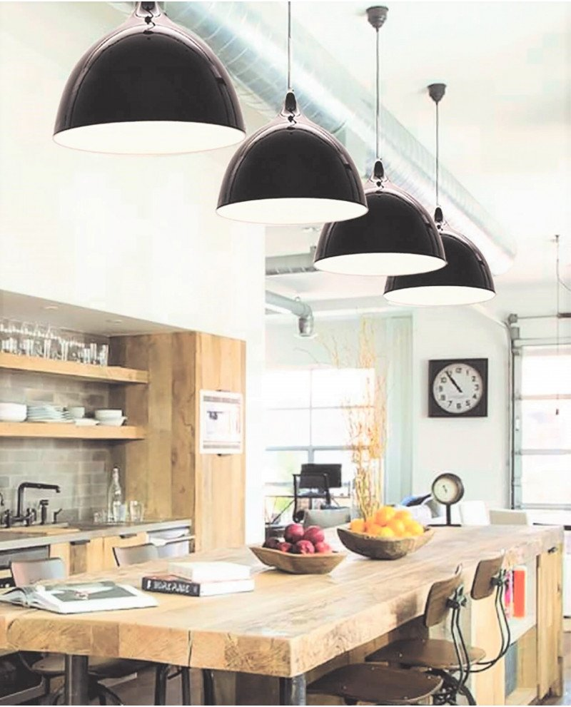 lampadario da soffitto vintage nero lucido Vittorio