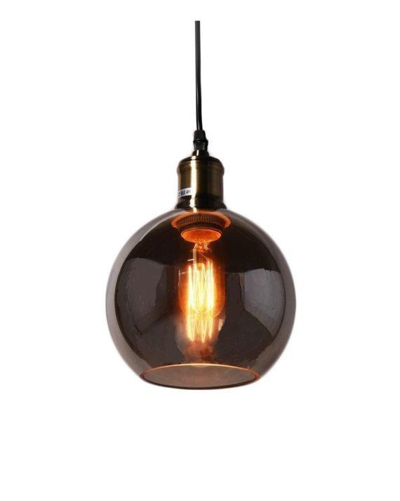 lampadario vintage industriale in vetro a sfera