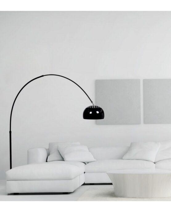 lampada ad arco flos replica di colore nero