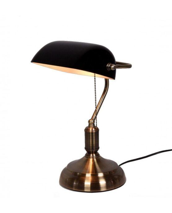 vecchia lampada tavolo ottone con paralume nero
