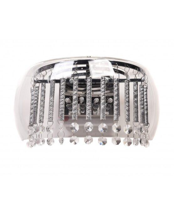 lampada semicerchio con cristalli e vetro