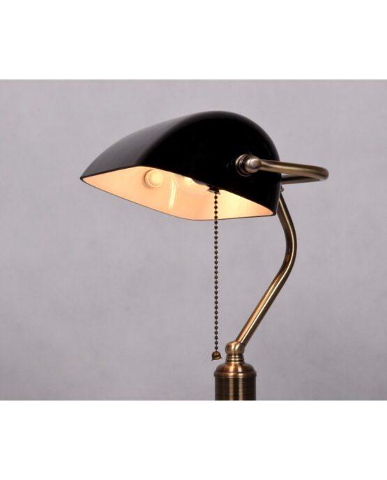 lampada vintage scrivania paralume vetro nero