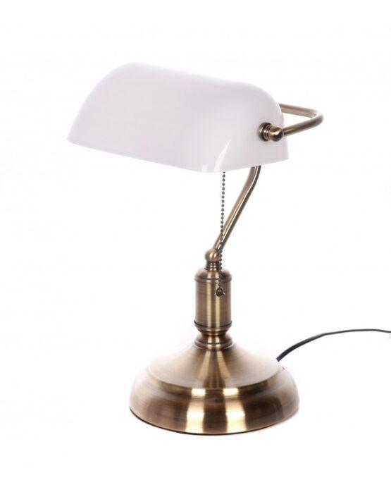 lampada vintage anni 30 con paralume bianco