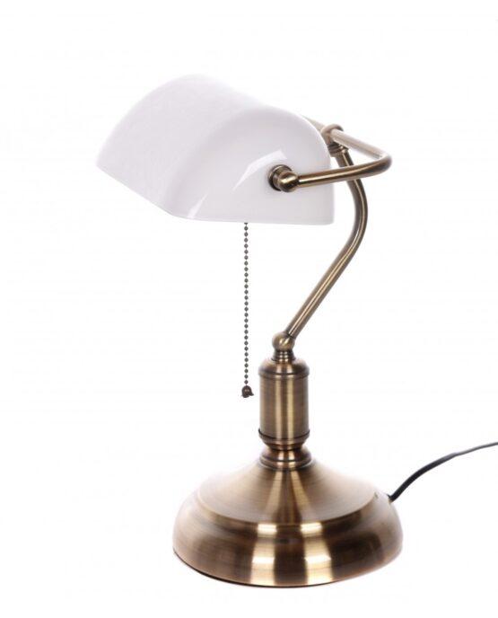 lampada con interruttore a catanella e paralume bianco