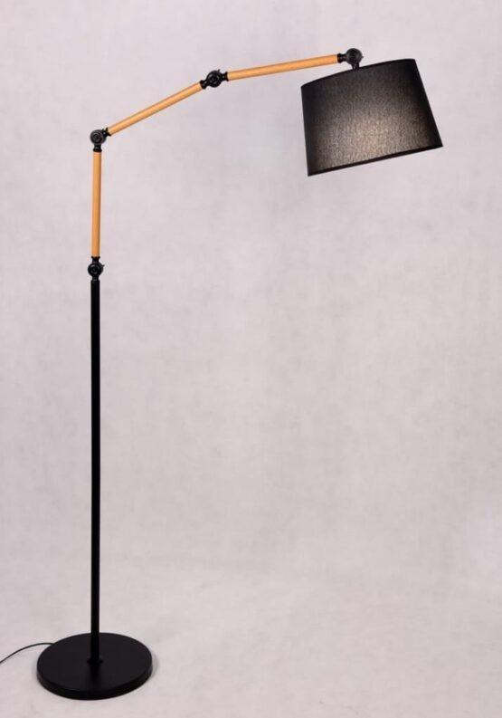 lampada a stelo da terra in bambu e metallo