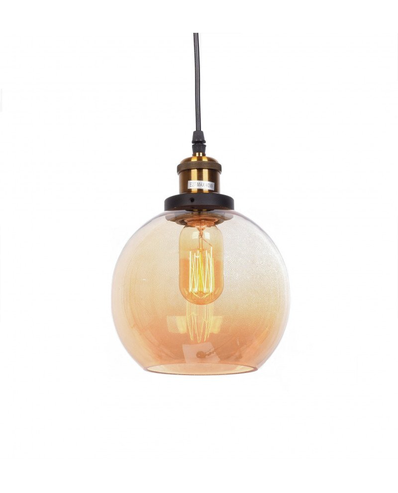 lampadario a sospensione industriale vintage in vetro ambrato 1 test