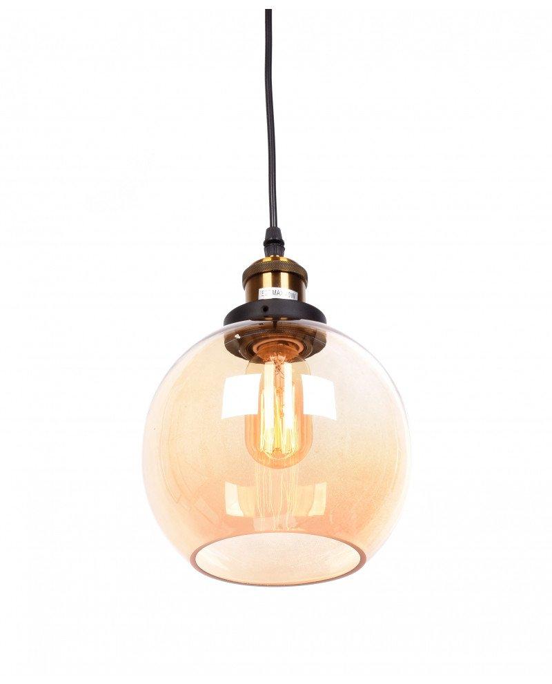 lampadario a sospensione industriale vintage in vetro ambrato 2 test