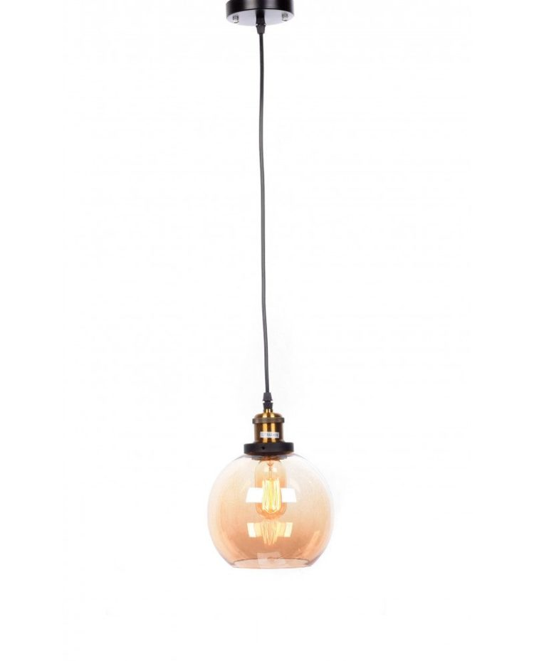 lampadario a sospensione industriale vintage in vetro ambrato