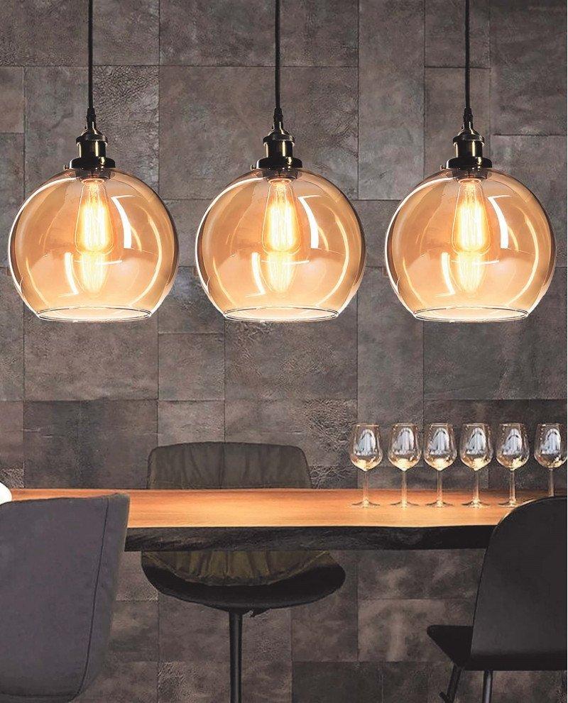 lampadario a sospensione industriale vintage in vetro ambrato 5 test