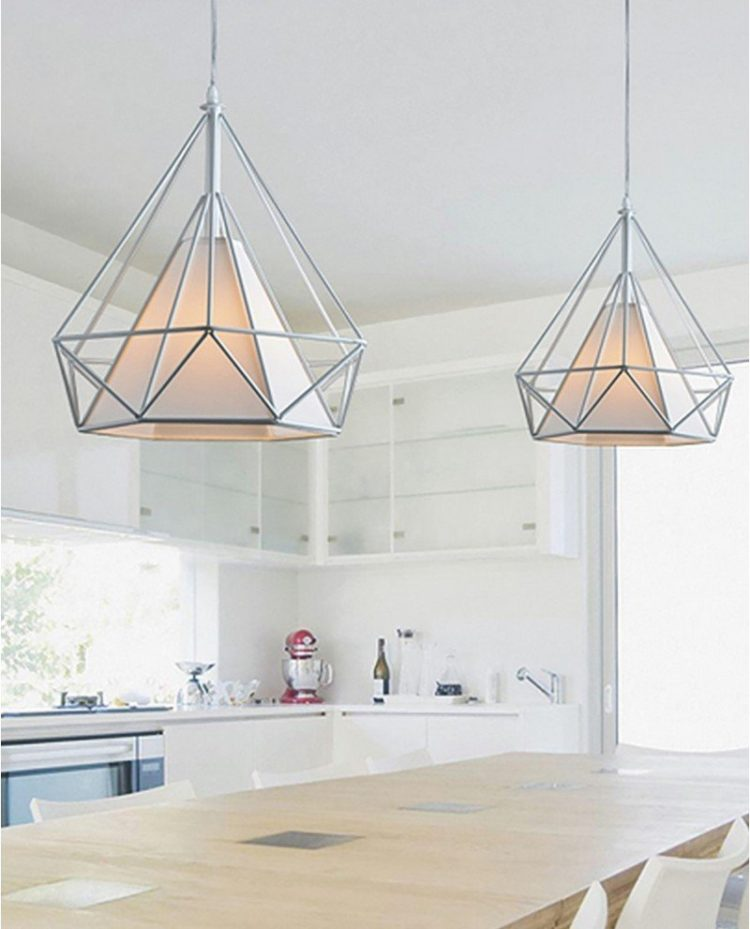 lampada poligonale in metallo bianca