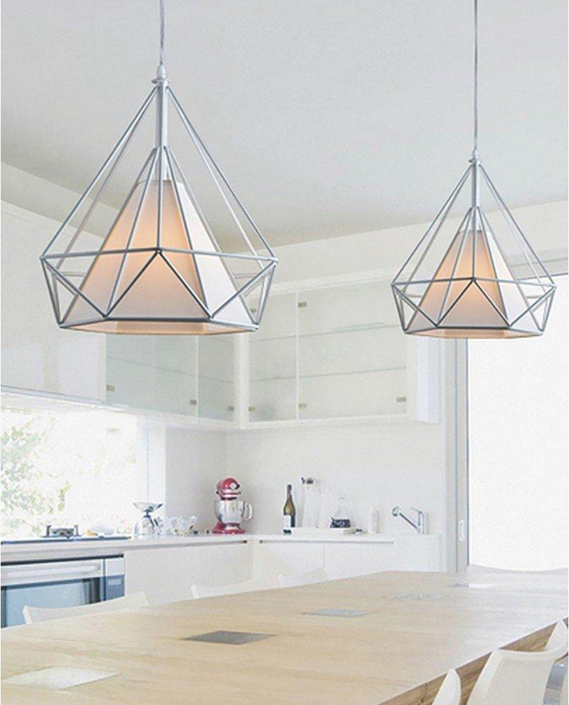 lampada poligonale in metallo bianca 2 test
