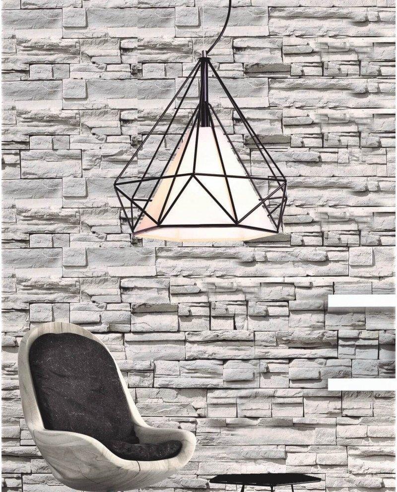 lampadario design gabbia metallo nero 2 test