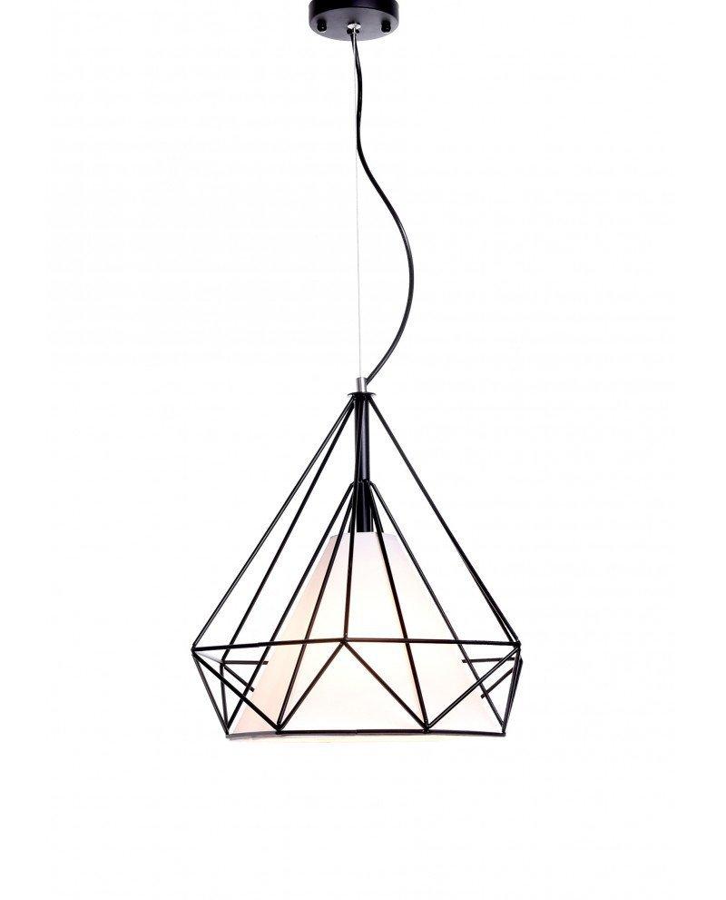 lampadario design gabbia metallo nero 3 test