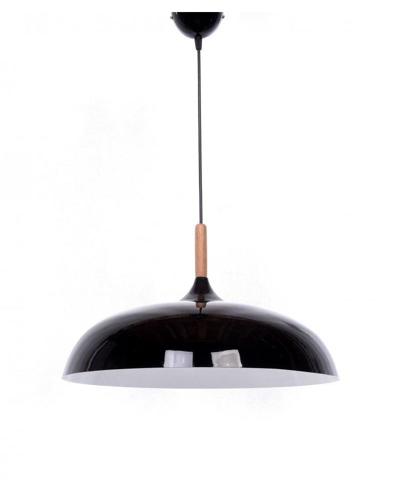 lampadario in stile retro vintage metallo e legno nero 2 test