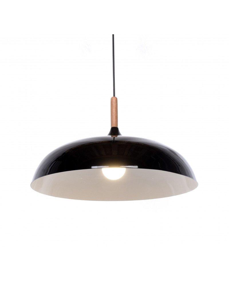 lampadario in stile retro vintage metallo e legno nero 3 test