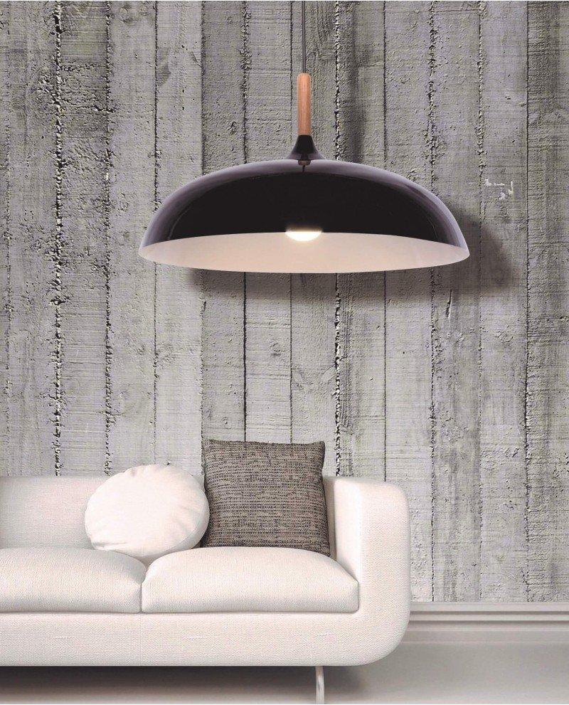 lampadario in stile retro vintage metallo e legno nero 6 test