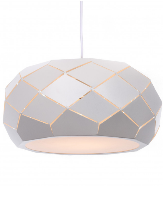lampada moderna a soffitto paralume metallo bianco diametro 35 cm