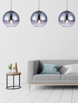 lampada salotto sfera vetro argento cromata