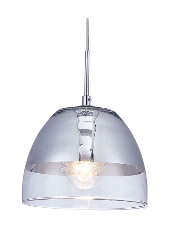 lampada a sospensione a cupola in vetro trasparente