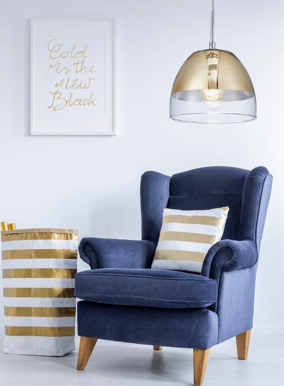 lampada sospensione oro campana vetro