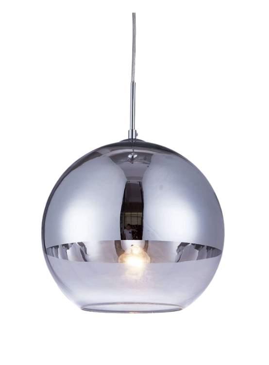 lampada a sospensione a sfera argento cromata