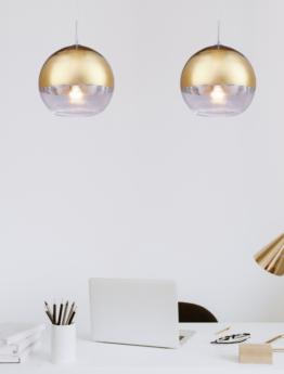 lampada a sospensione a sfera vetro oro trasparente