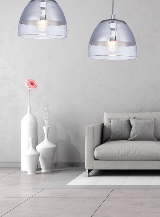lampada vetro a cupola con paralume cromato
