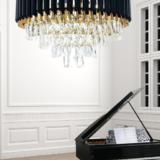lampadario classico cristallo oro e nero
