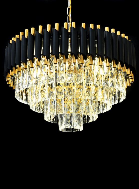 lampadario cristallo lusso oro nero