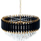 lampadario cristallo a torta colore nero e oro