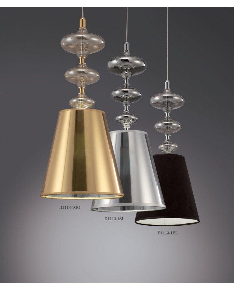 Lampada a sospensione in stile Déco Veneziana color argento 1 test