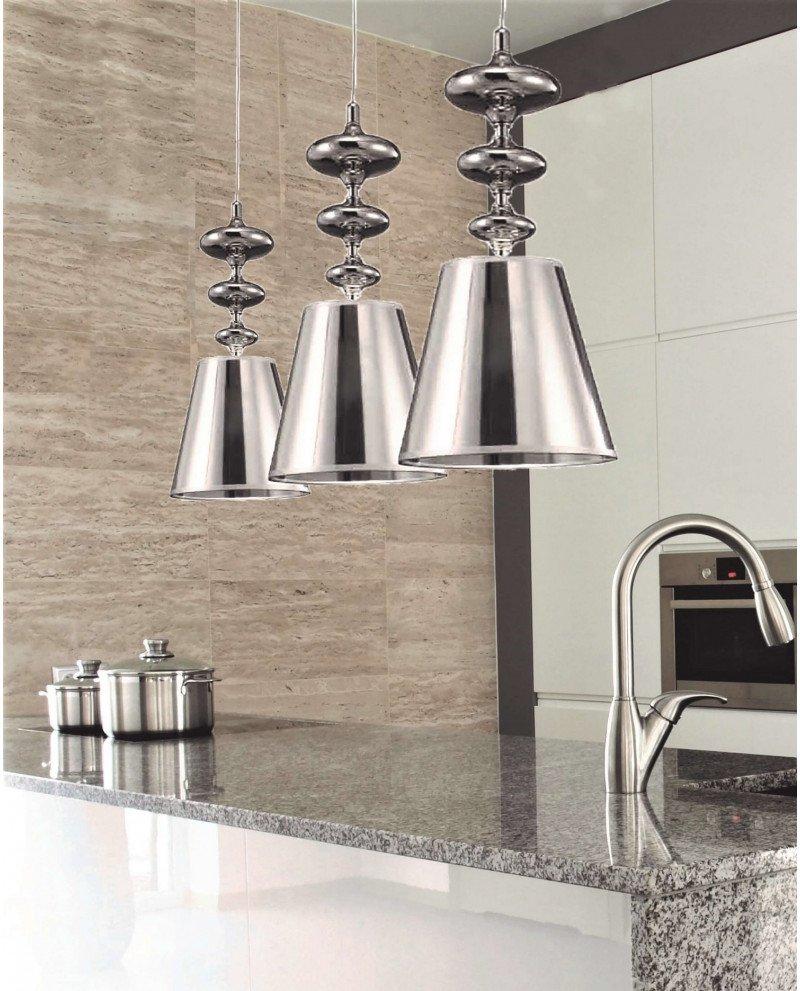Lampada a sospensione in stile Déco Veneziana color argento 122 test