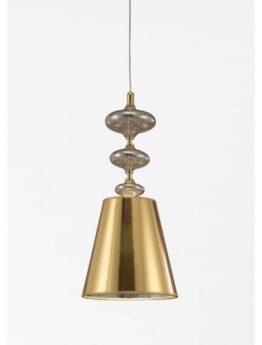 Lampada a sospensione in stile Deco Veneziana con paralume oro