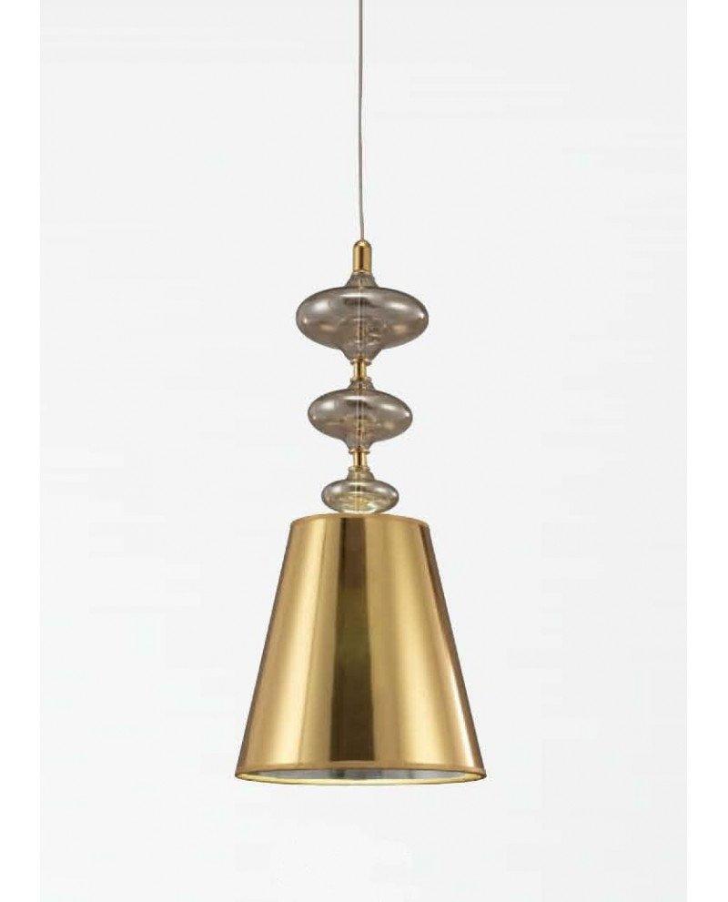 Lampada a sospensione in stile Deco Veneziana con paralume oro 111 test