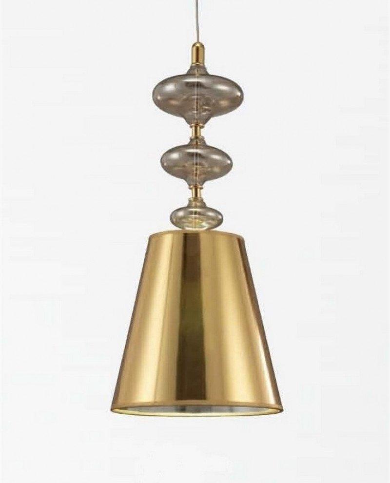 Lampada a sospensione in stile Deco Veneziana con paralume oro test