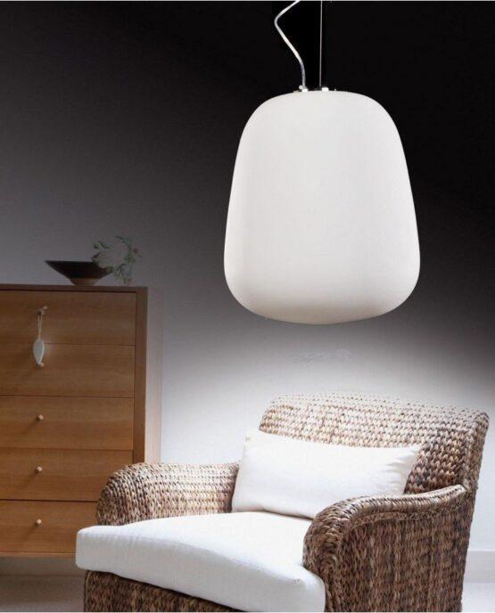 Lampada a sospensione in vetro bianco design moderno