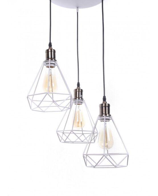 Lampadario 3 luci ferro battutto in stile scandinavo minimal Bianco