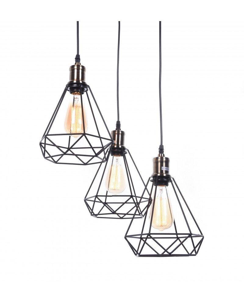 Lampade Da Soffitto Per Taverna lampadario 3 luci da soffitto scandinavo industriale design a gabbia  triangolare di ferro