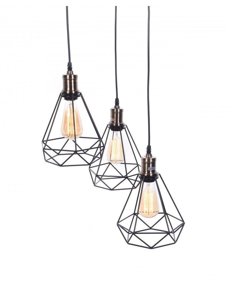 Lampadario da soffitto scandinavo industriale design a gabbia di ferro triangolare 121344 test
