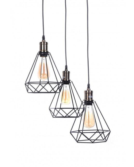 Lampadario da soffitto scandinavo industriale design a gabbia di ferro triangolare