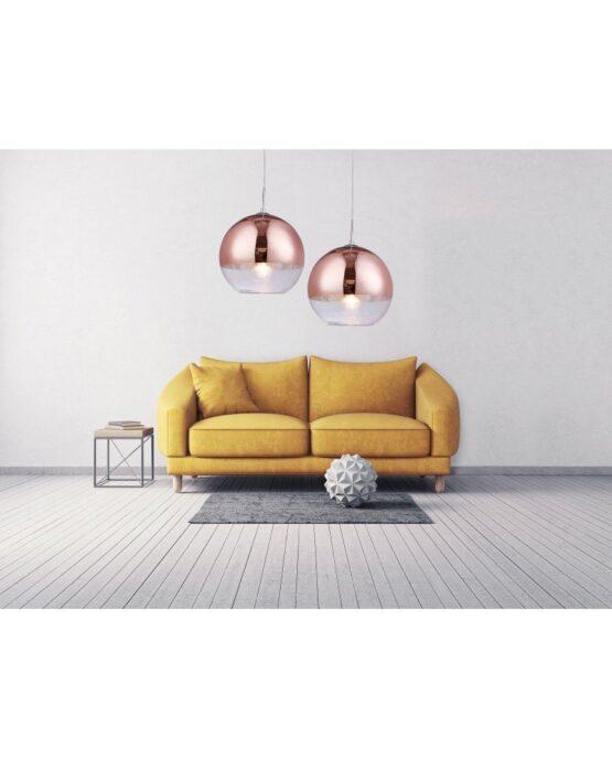 Lampadario moderno salotto a sospensione oro rosa D30