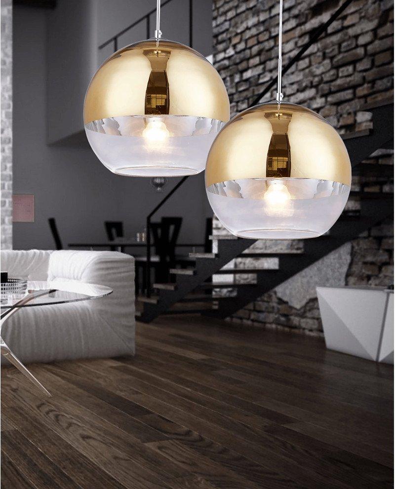 Lampadario per cucina moderno in vetro dorato D30 1 1233 test