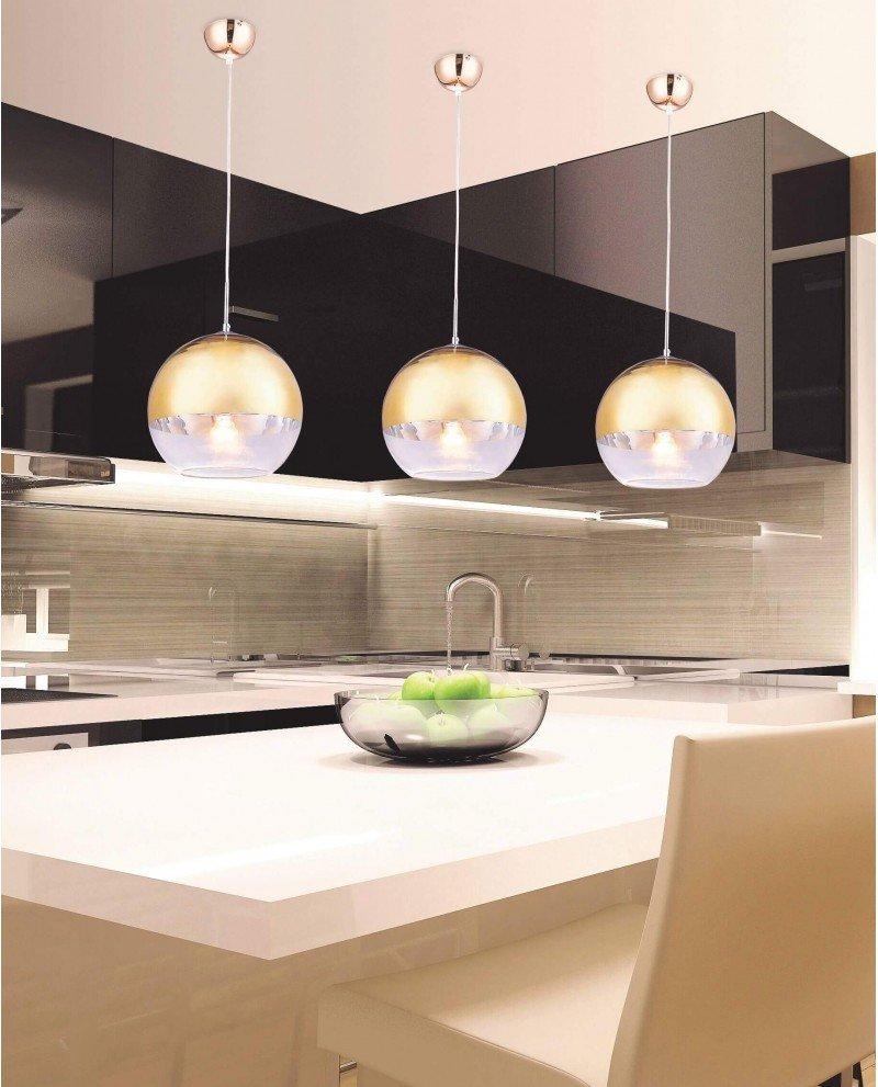 Lampadario per cucina moderno in vetro dorato D30
