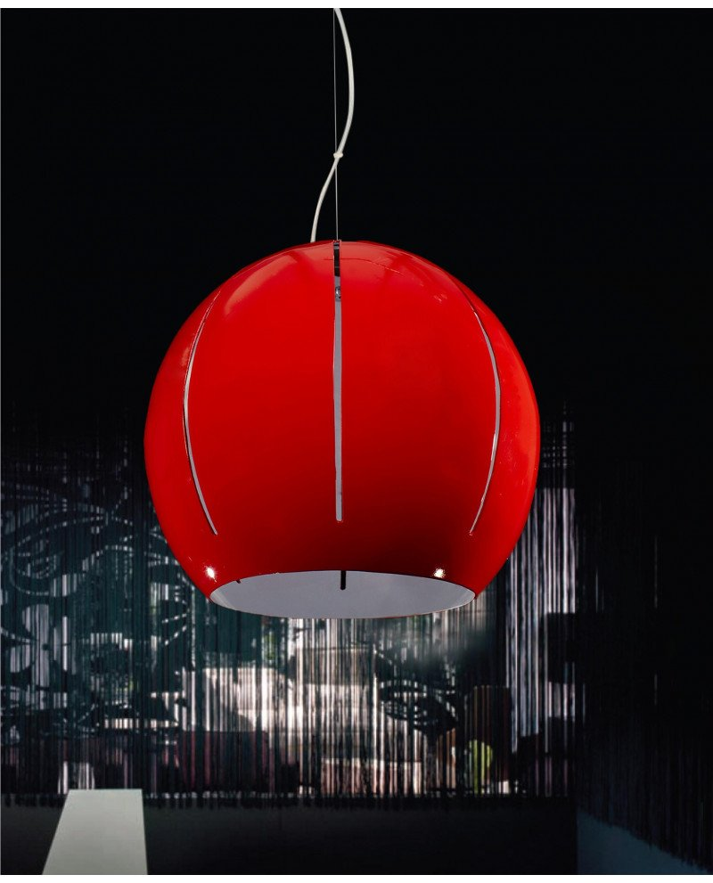 Lampadario rosso moderno 3 luci per soggiorno di design test