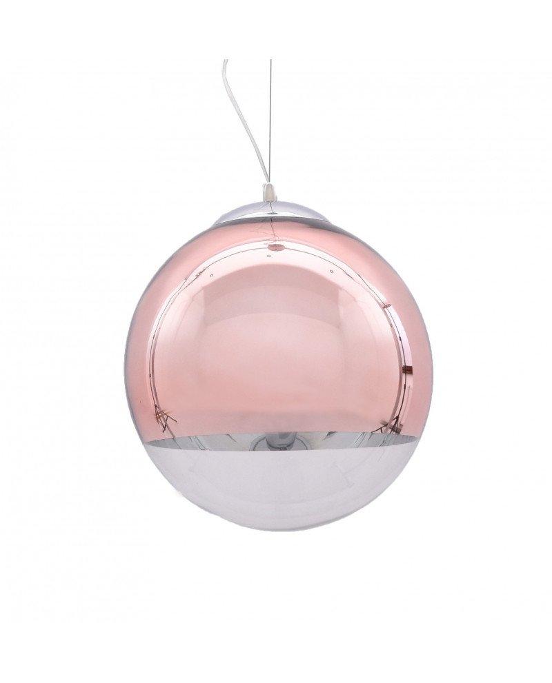 Lampadario sfera vetro a sospensione trasparente e oro rosa 1 test