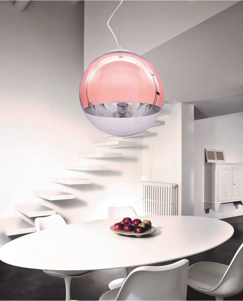 Lampadario sfera vetro a sospensione trasparente e oro rosa 121 test