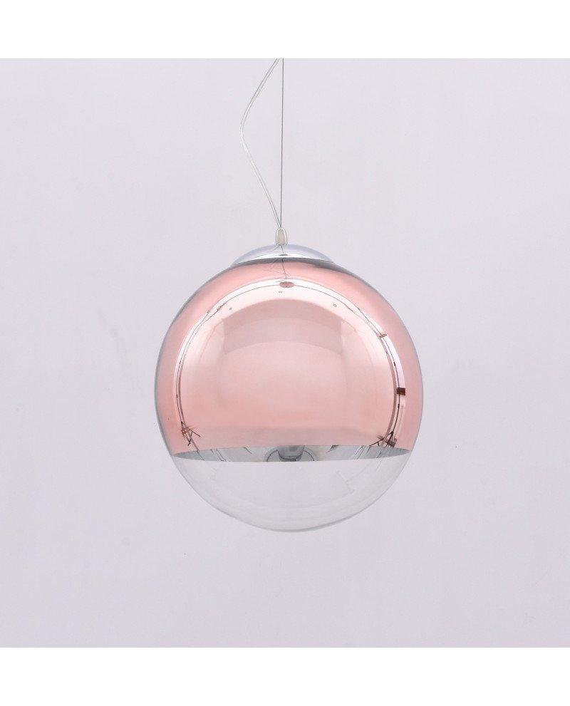 Lampadario sfera vetro a sospensione trasparente e oro rosa 1211 test