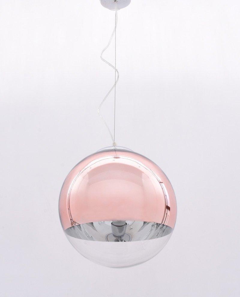 Lampadario sfera vetro a sospensione trasparente e oro rosa 12124 test